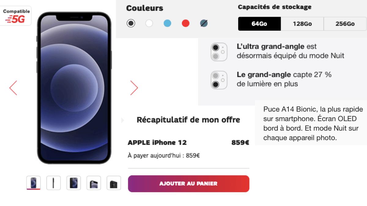 l'iPhone 12 seul au prix de 859€ chez SFR.