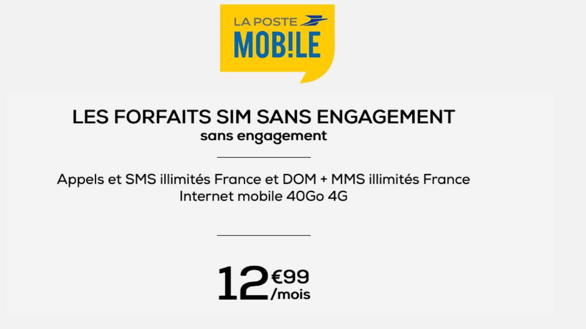 La Poste Mobile : 12,99€/mois pour 40 Go