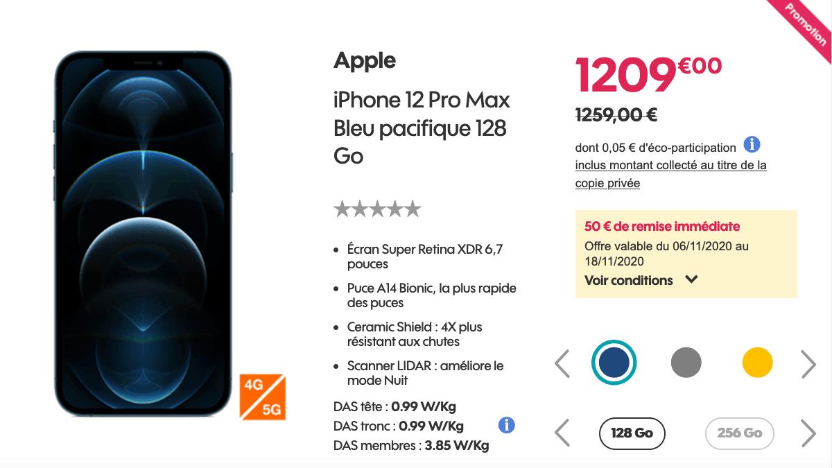 L'iPhone 12 Pro Max avec Sosh
