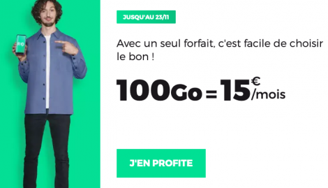 RED by SFR forfait 100 Go 15€.