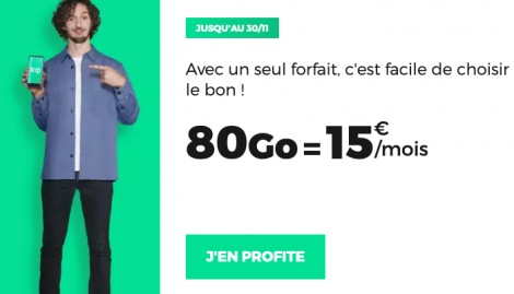 RED by SFR forfait 80 Go en promo.