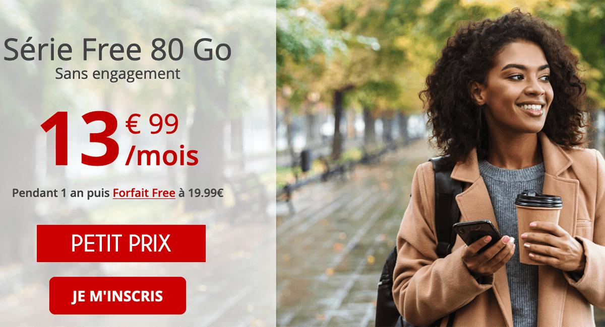 Free Mobile : 80 Go 13,99€/mois