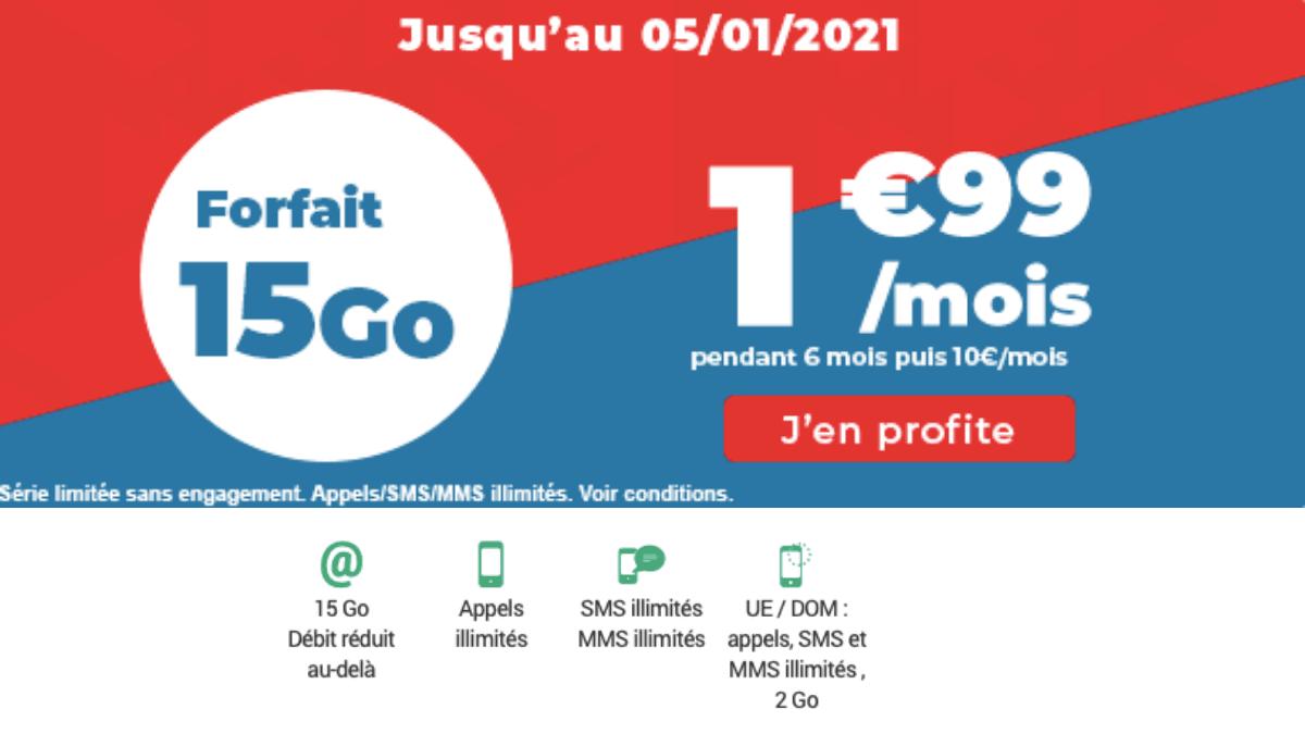 Le forfait mobile 15 Go d'Auchan télécom