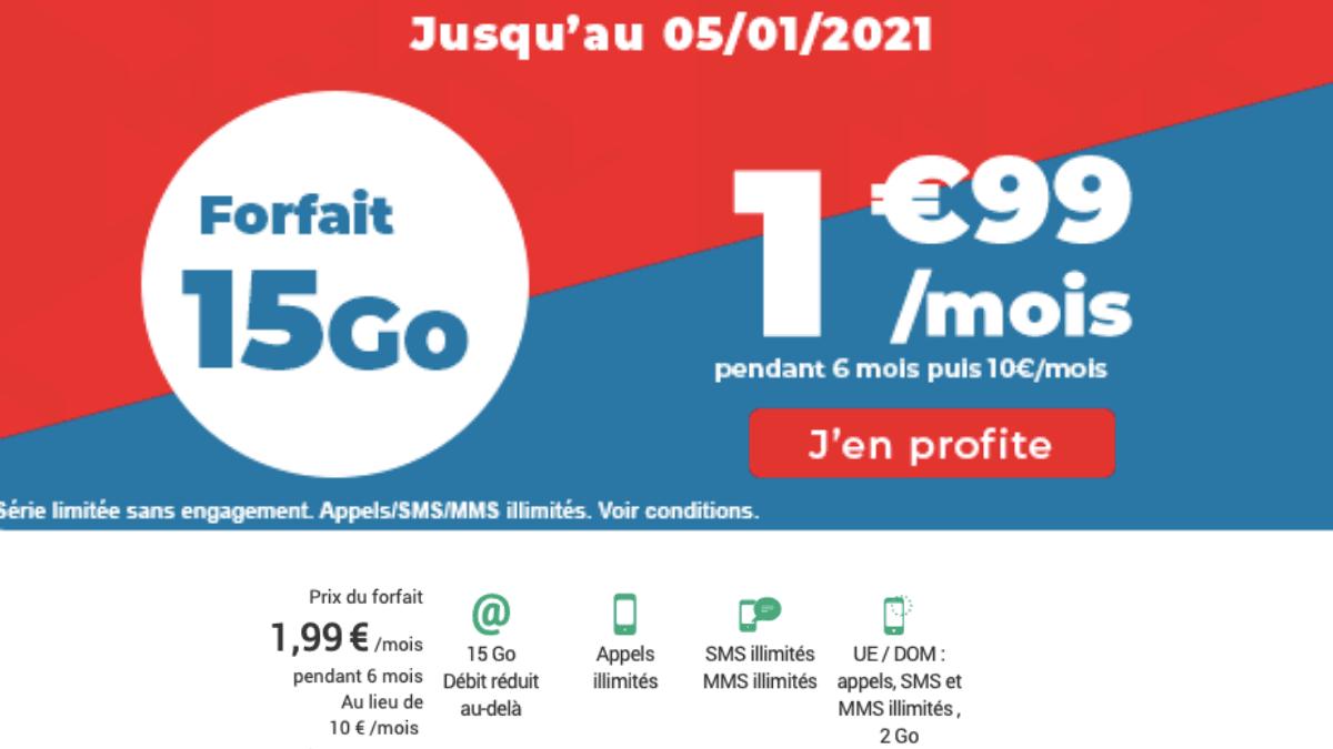 Le forfait 4G 15 Go Auchan télécom