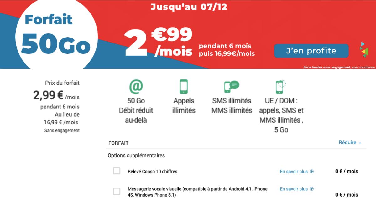 Forfait 4G de Auchan télécom à 2,99€/mois.