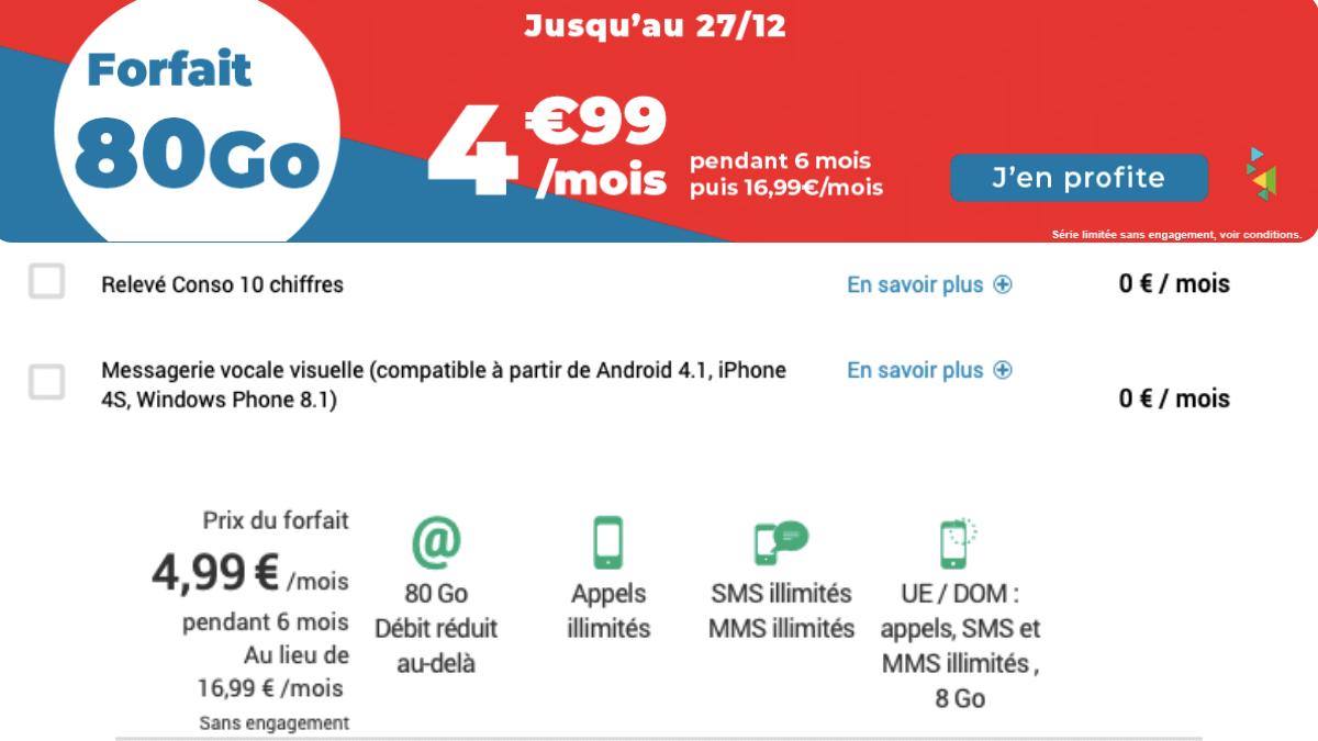 Le forfait 4G de Auchan télécom à 4,99€/mois.