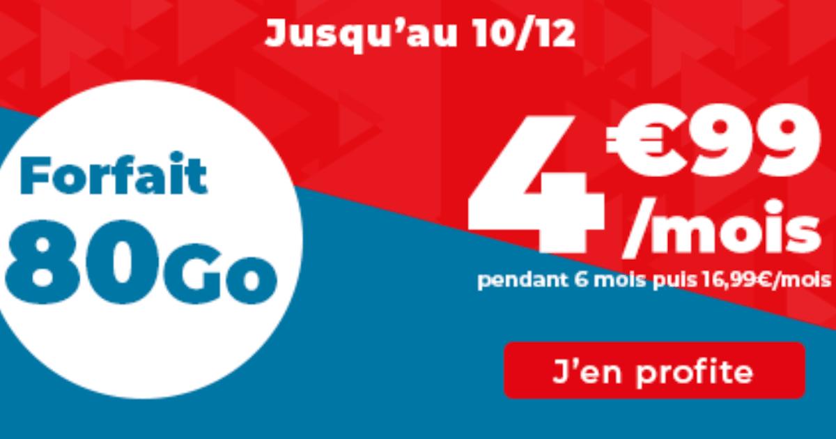 Forfait 4G Auchan telecom sans engagement 80 Go promo