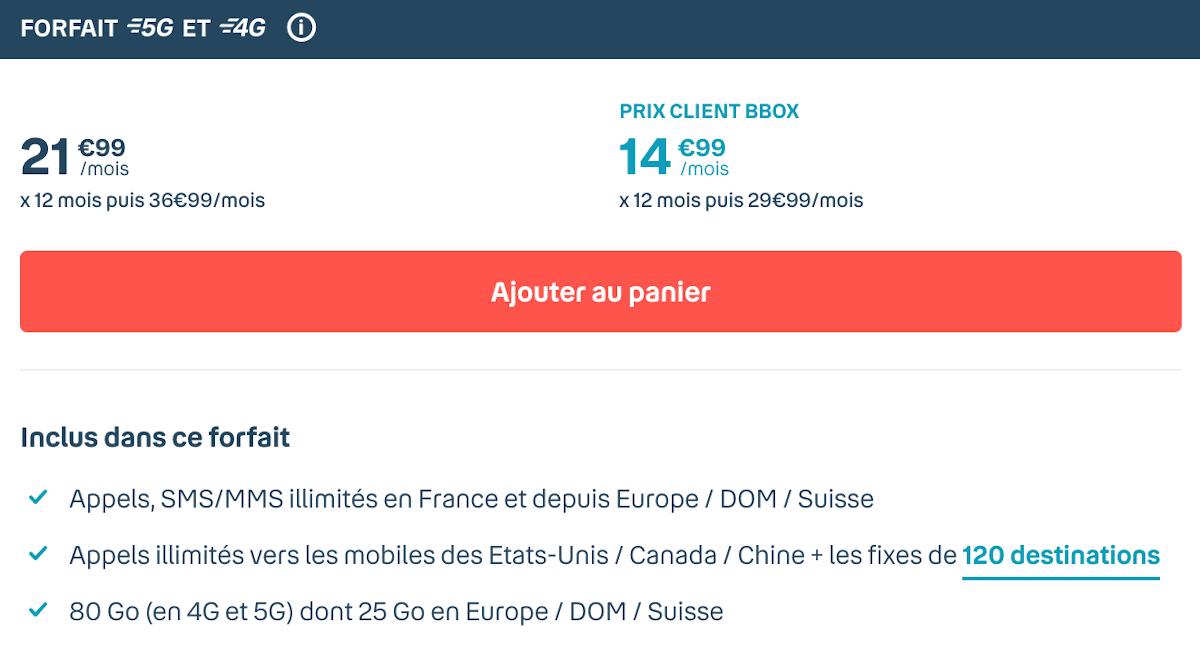 Forfait 5G Bouygues Telecom Sensation 80 Go