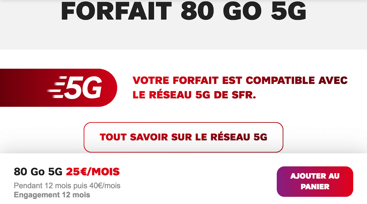 Forfait 5G SFR international 80 Go