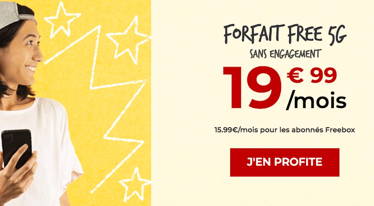Forfait Free Mobile 5G 150 Go promo Freebox Noël