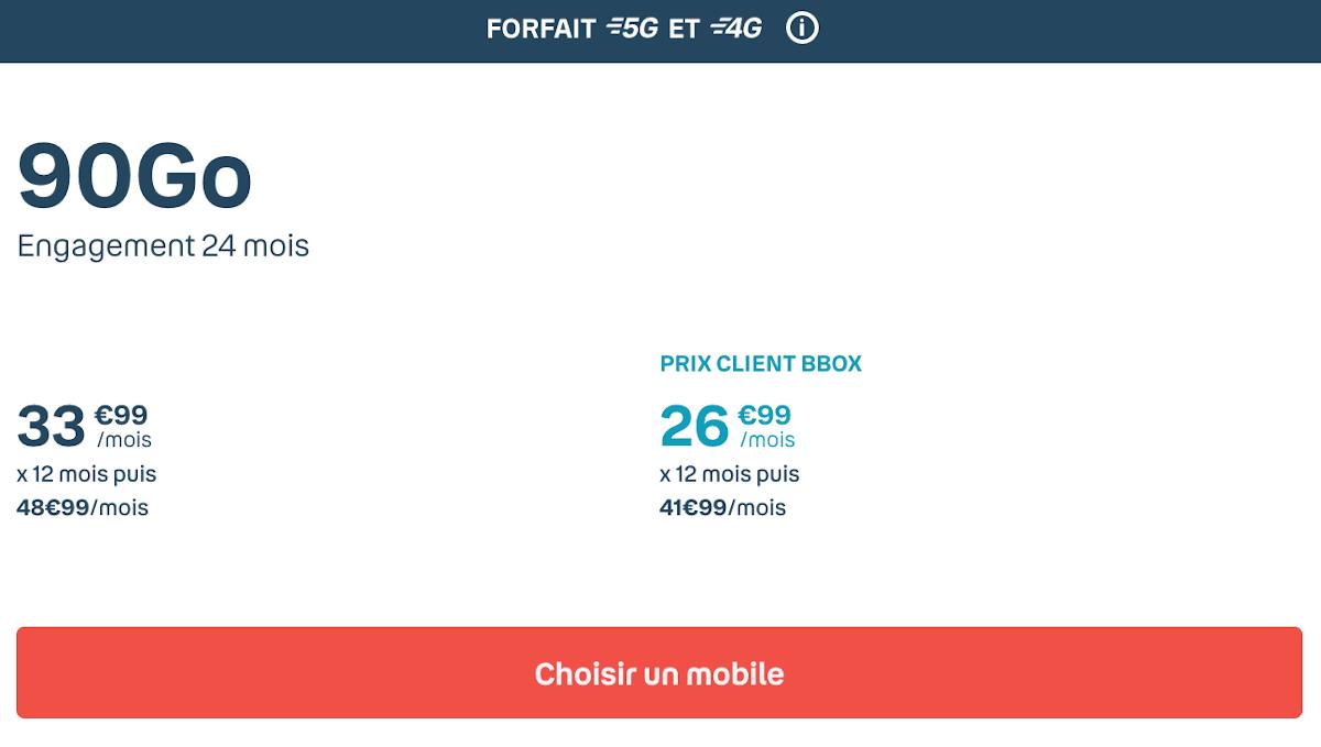Forfait Sensation avantage smartphone Bouygues Telecom 90 Go