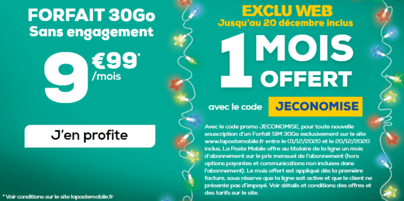 Un forfait 30 Go à moins de 10€ avec La Poste Mobile