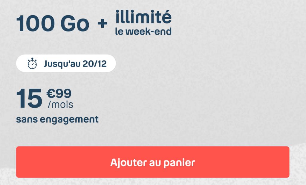 Forfait mobile B&YOU 100 Go 4G illimitée le week-end