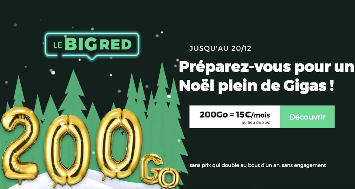 Forfait sans engagement BIG RED Noël 200 Go 4G