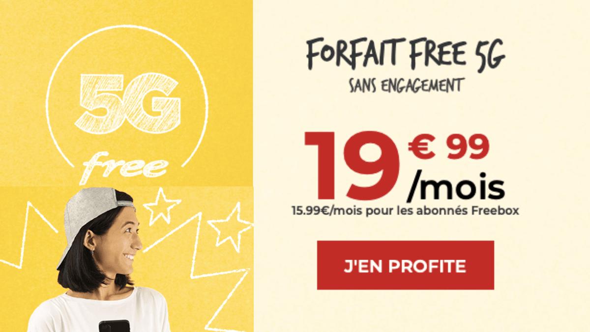 Free propose un forfait 5G à 19,99€ par mois.