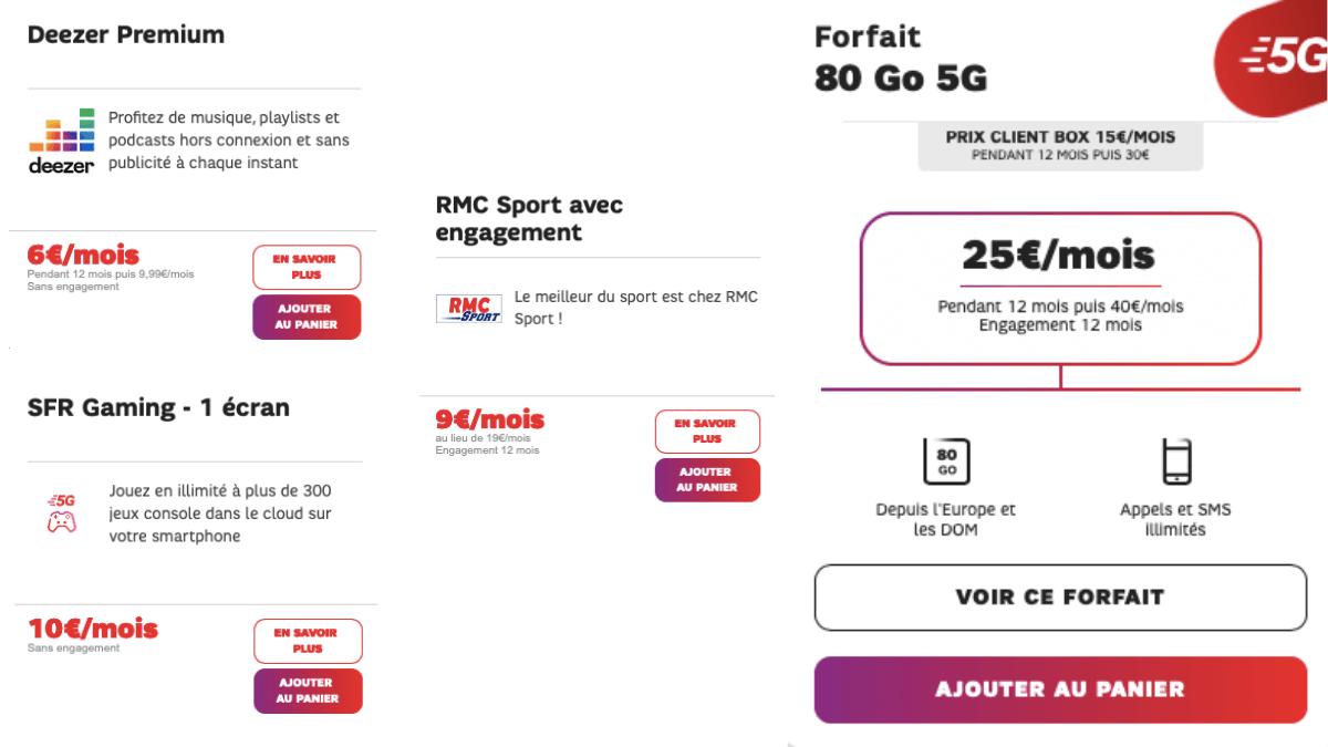 Le forfait 5G 80 Go de SFR.