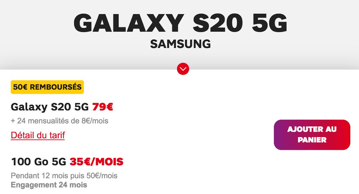 Samsung Galaxy S20 5G SFR remise smartphone