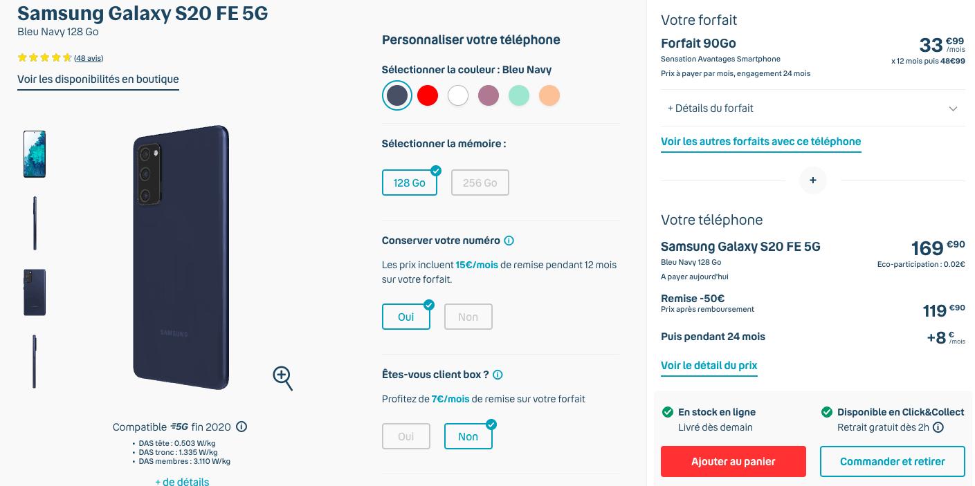 Samsung Galaxy S20 FE 5G chez Bouygues
