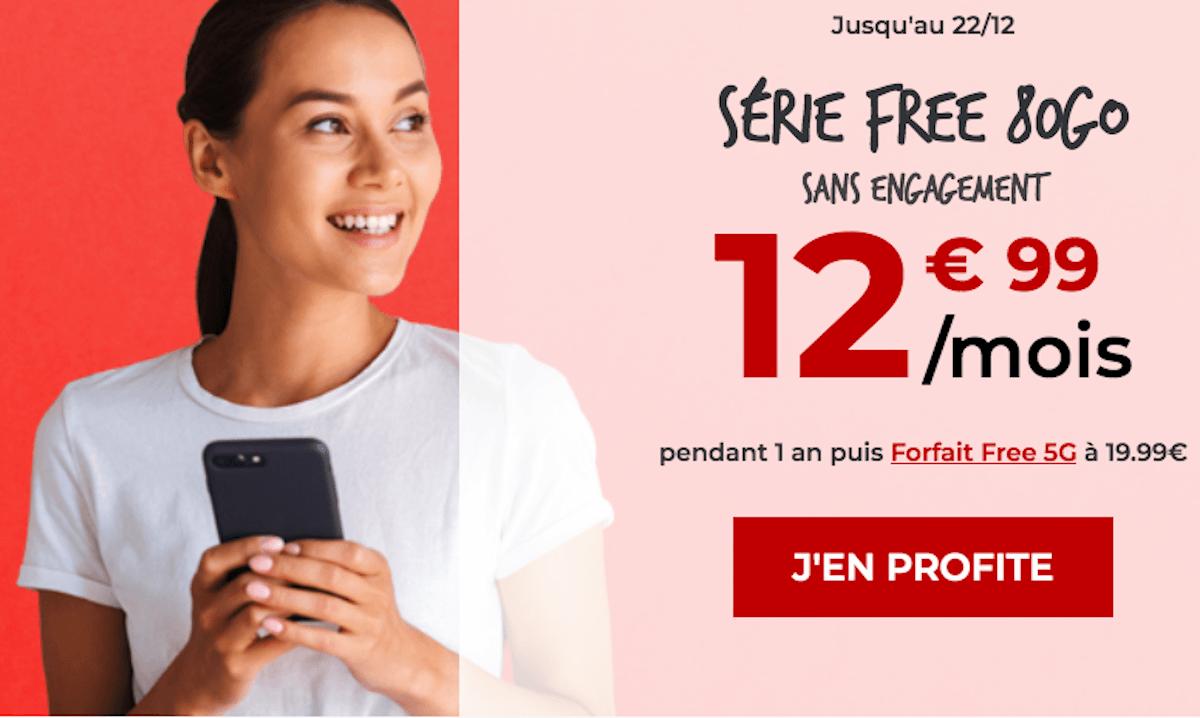 Série limitée Free Mobile forfait 4G 80 Go