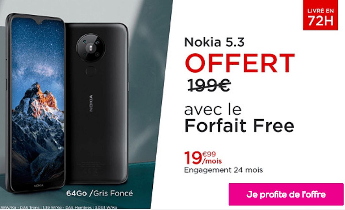 Vente privée Veepee Noël Forfait Free Mobile 4G smartphone gratuit Nokia