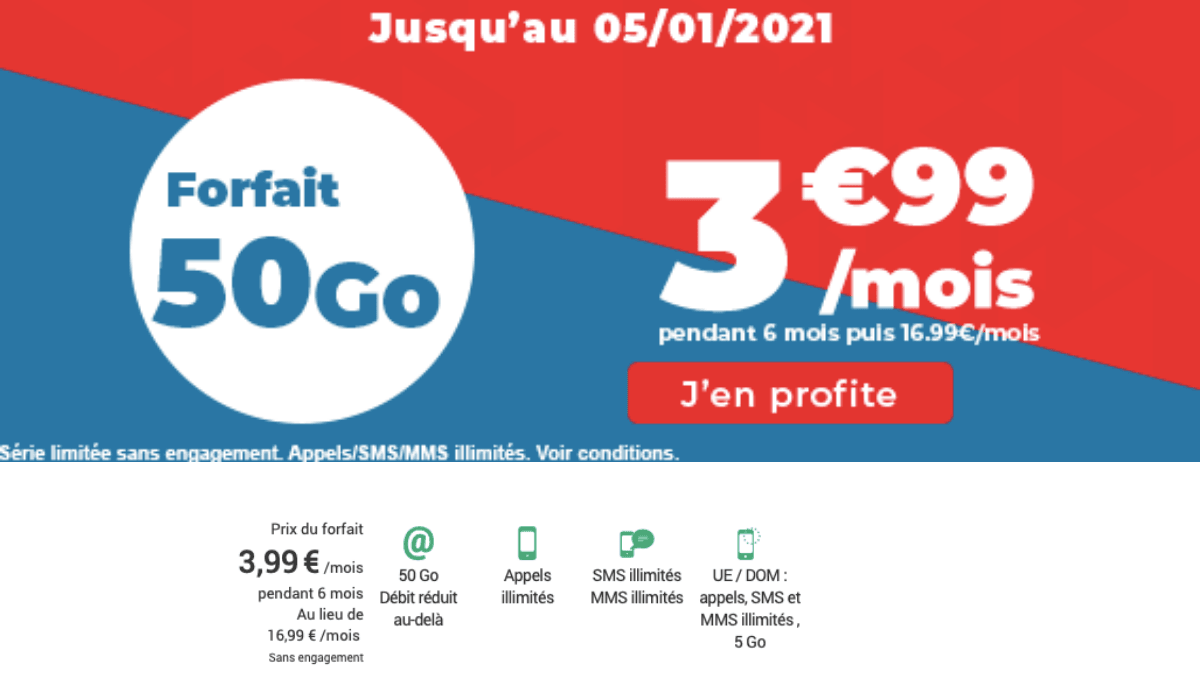 Le forfait 4G 50 Go Auchan télécom