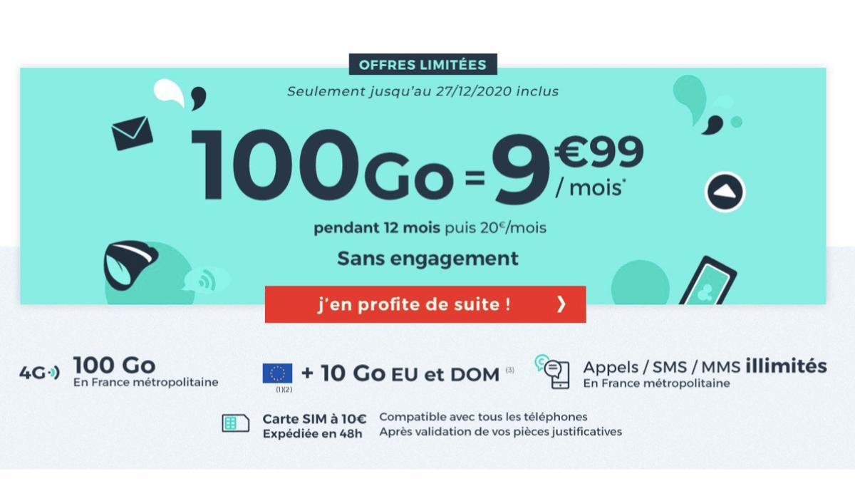 Cdiscount et son forfait 4G 100 Go.