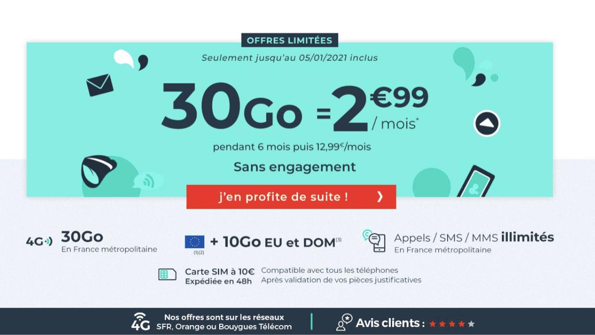 Le forfait 4G 30 Go Cdiscount mobile