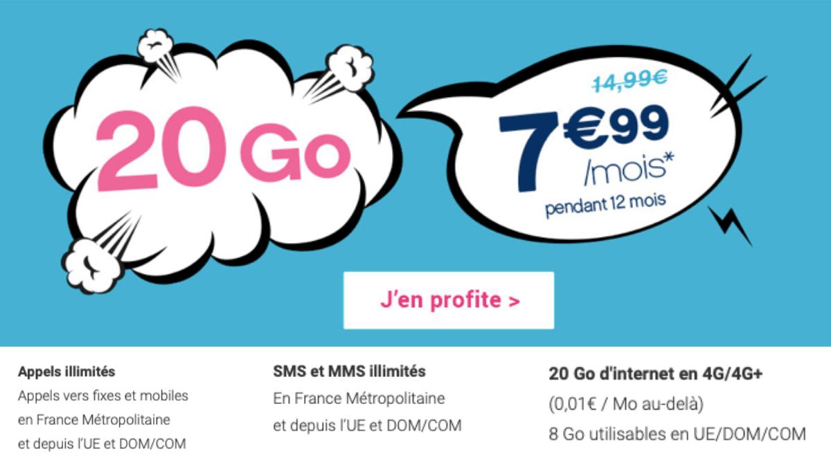 Coriolis propose son forfait 20 Go à 7,99€ par mois.