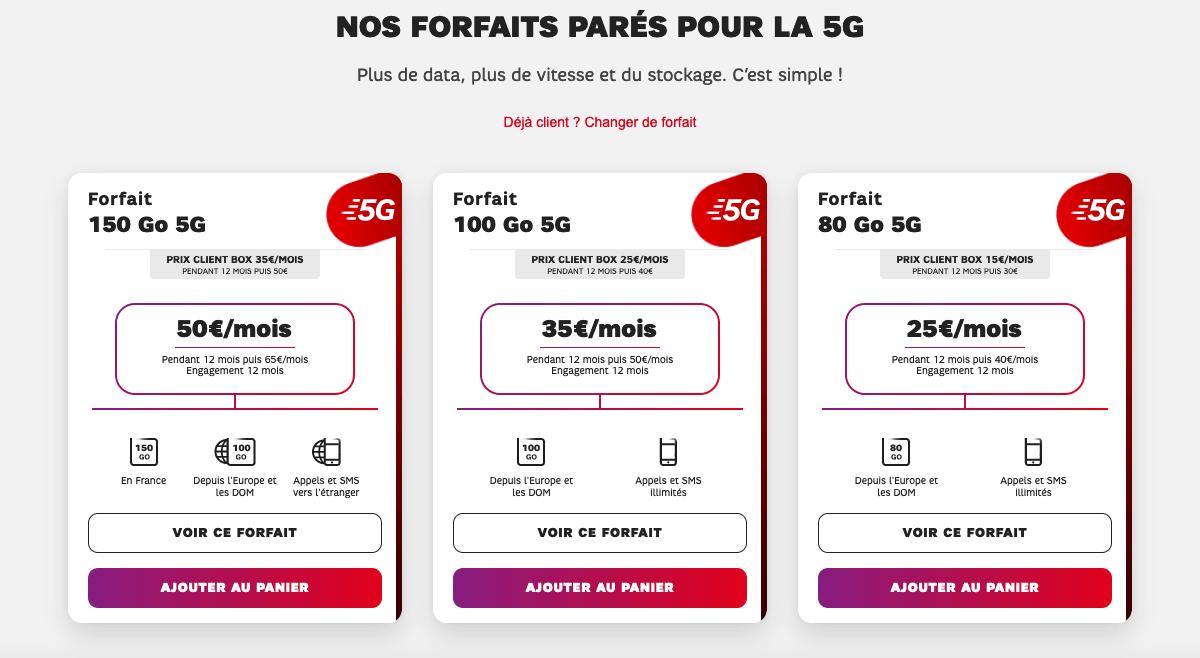 Les offres 5G de SFR