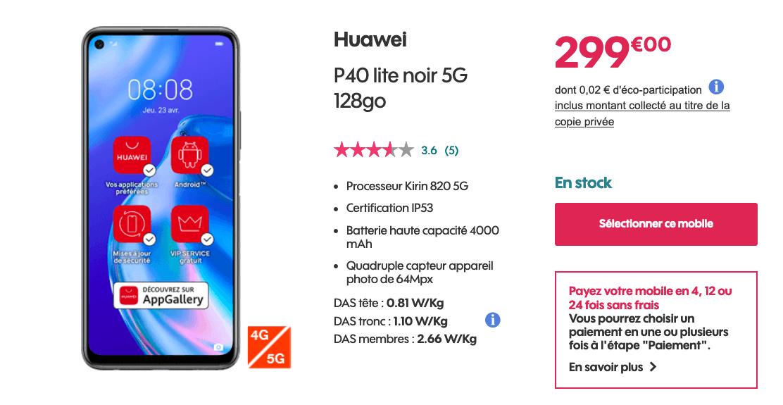 Le Huawei P40 Lite 5G chez Sosh