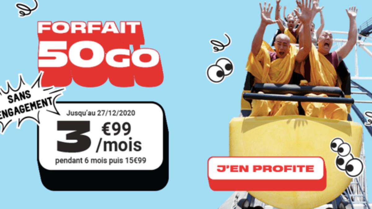 3,99€ par mois pour le forfait 4G 50 Go de NRJ.