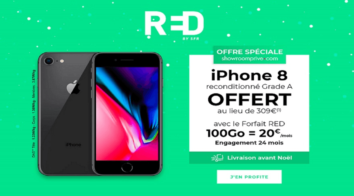 Showroom Privé avec RED by SFR iPhone 8 offert