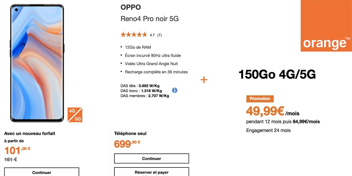 offre Oppo Reno4 Pro 5G + forfait avec Orange
