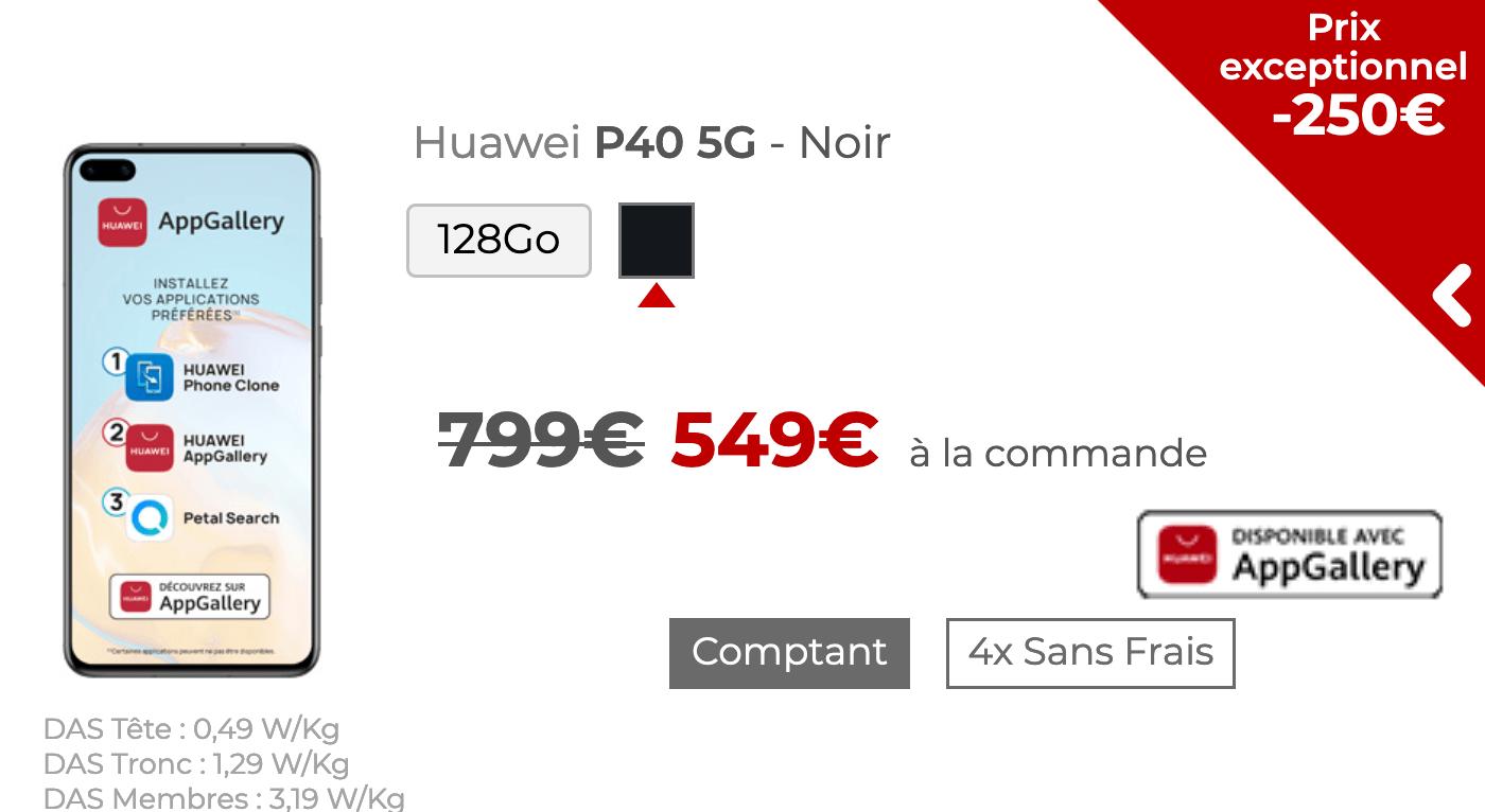 Le Huawei P40 5G avec Free