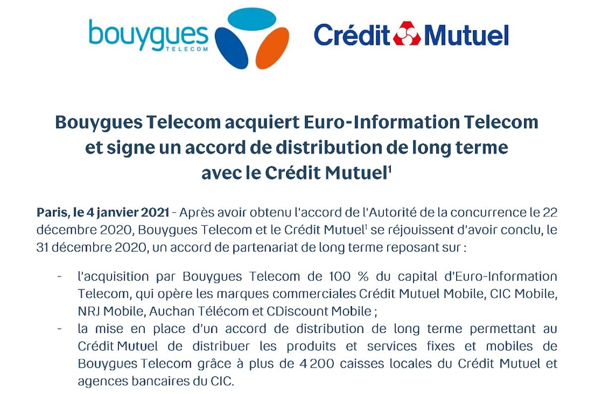 Bouygues Telecom acquisition agrégateur mobile EI Telecom