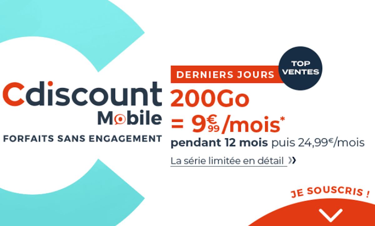 Cdiscount Mobile forfait 4G promo 200 Go