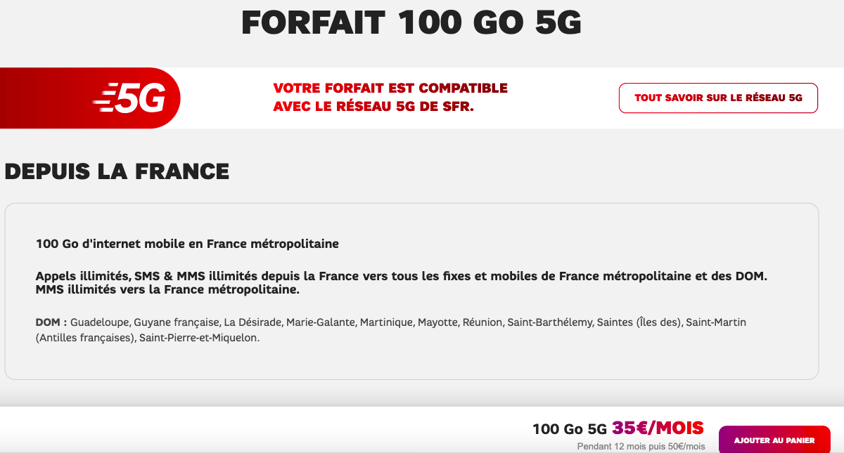 Plan SFR 5G 100 Go