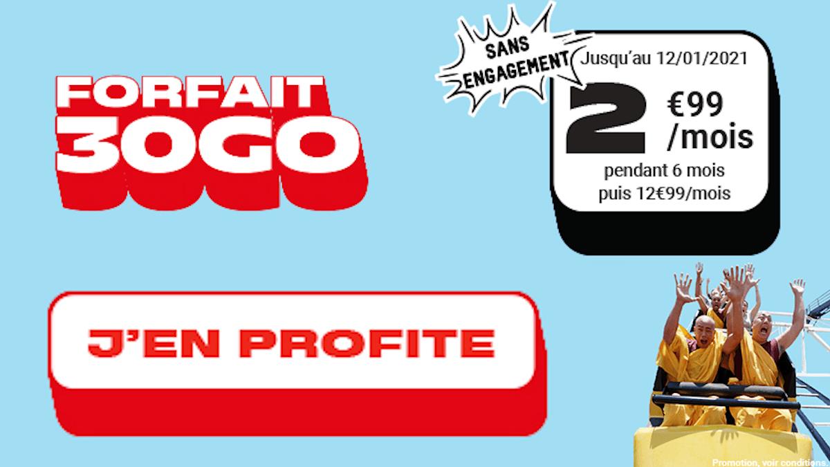 Forfait illimité 30 Go 4G sans engagement promo NRJ Mobile