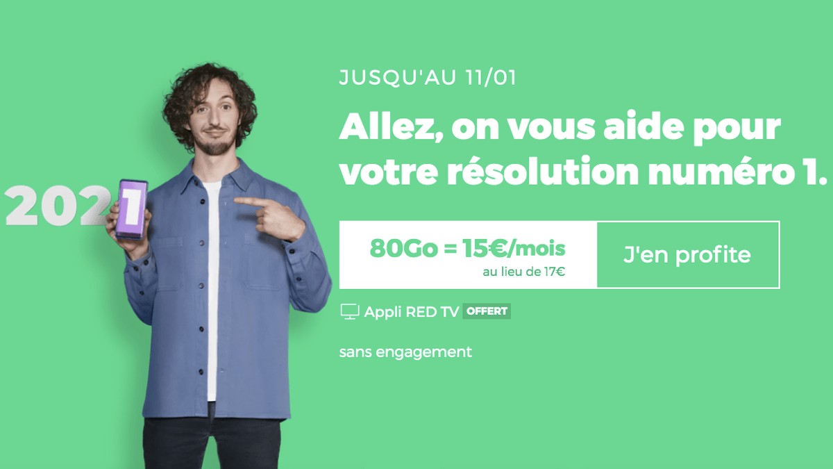 Forfait mobile 4G sans engagement RED by SFR 80 Go