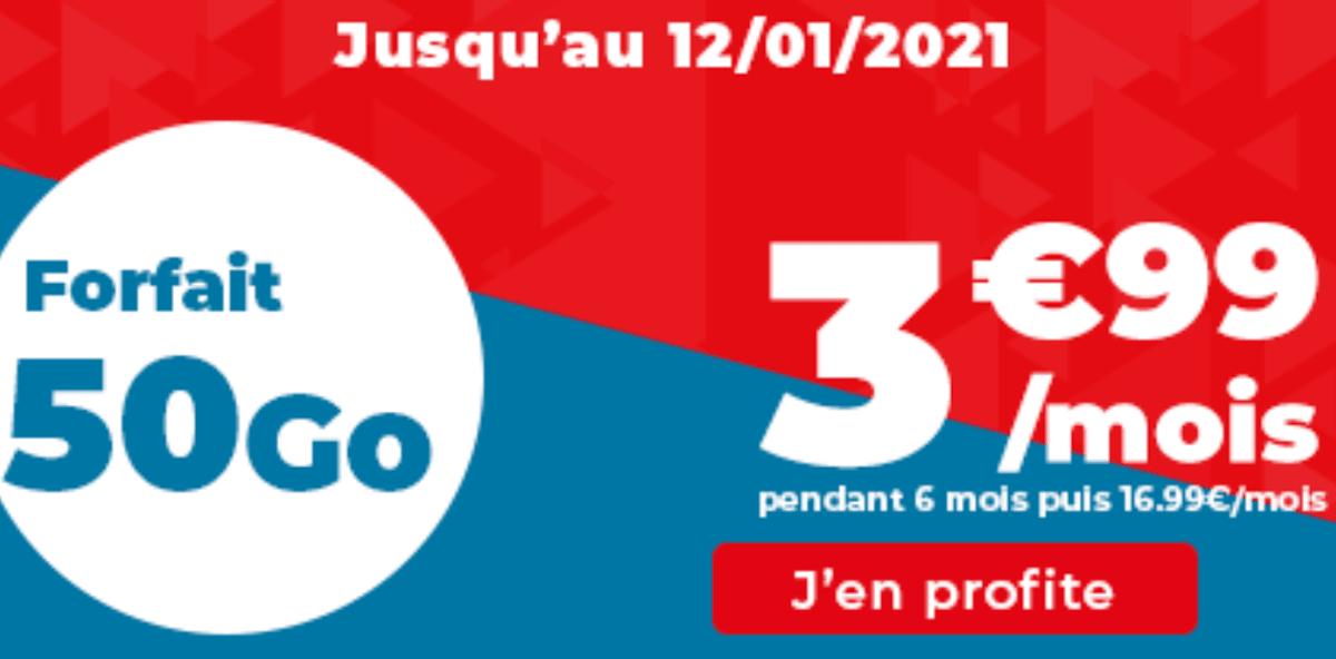 Forfait mobile Auchan télécom 50 Go promo sans engagement