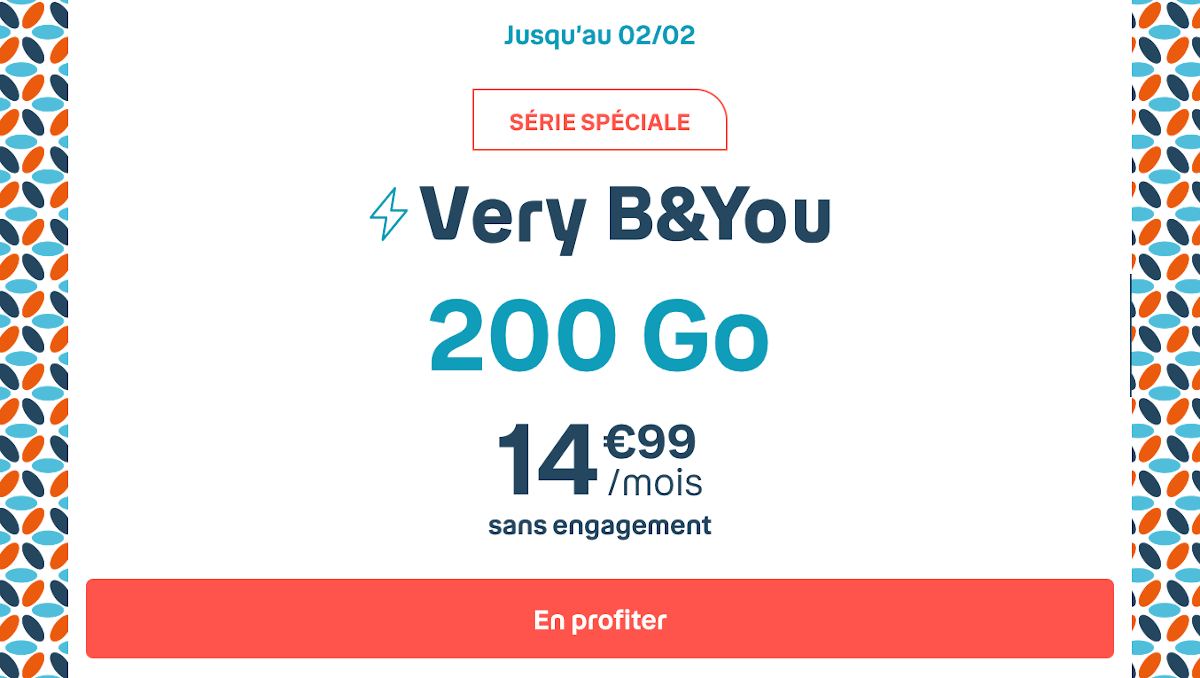 Forfait mobile pas cher promo Very B&YOU