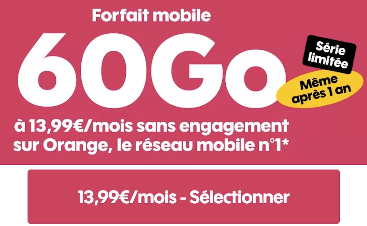 Forfait mobile sans engagement Sosh série limitée 60 Go