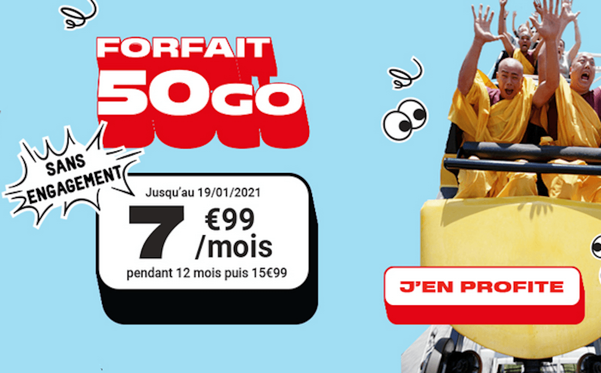 Forfait pas cher Woot NRJ Mobile 50 Go