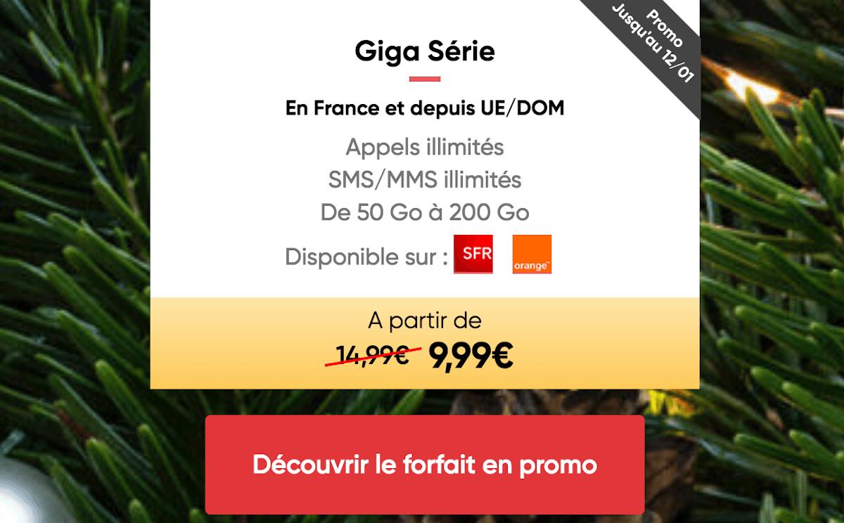 Giga Série forfait mobile 4G ajustable Prixtel
