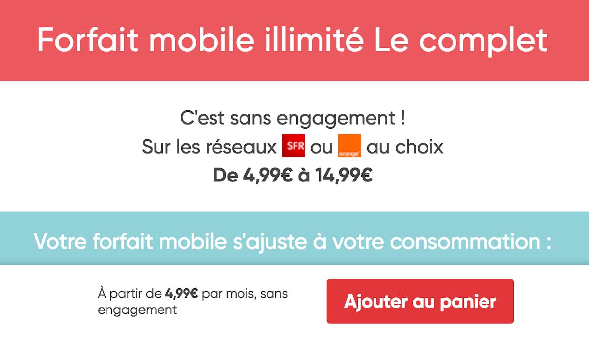 Le Complet forfait mobile 4G ajustable Prixtel