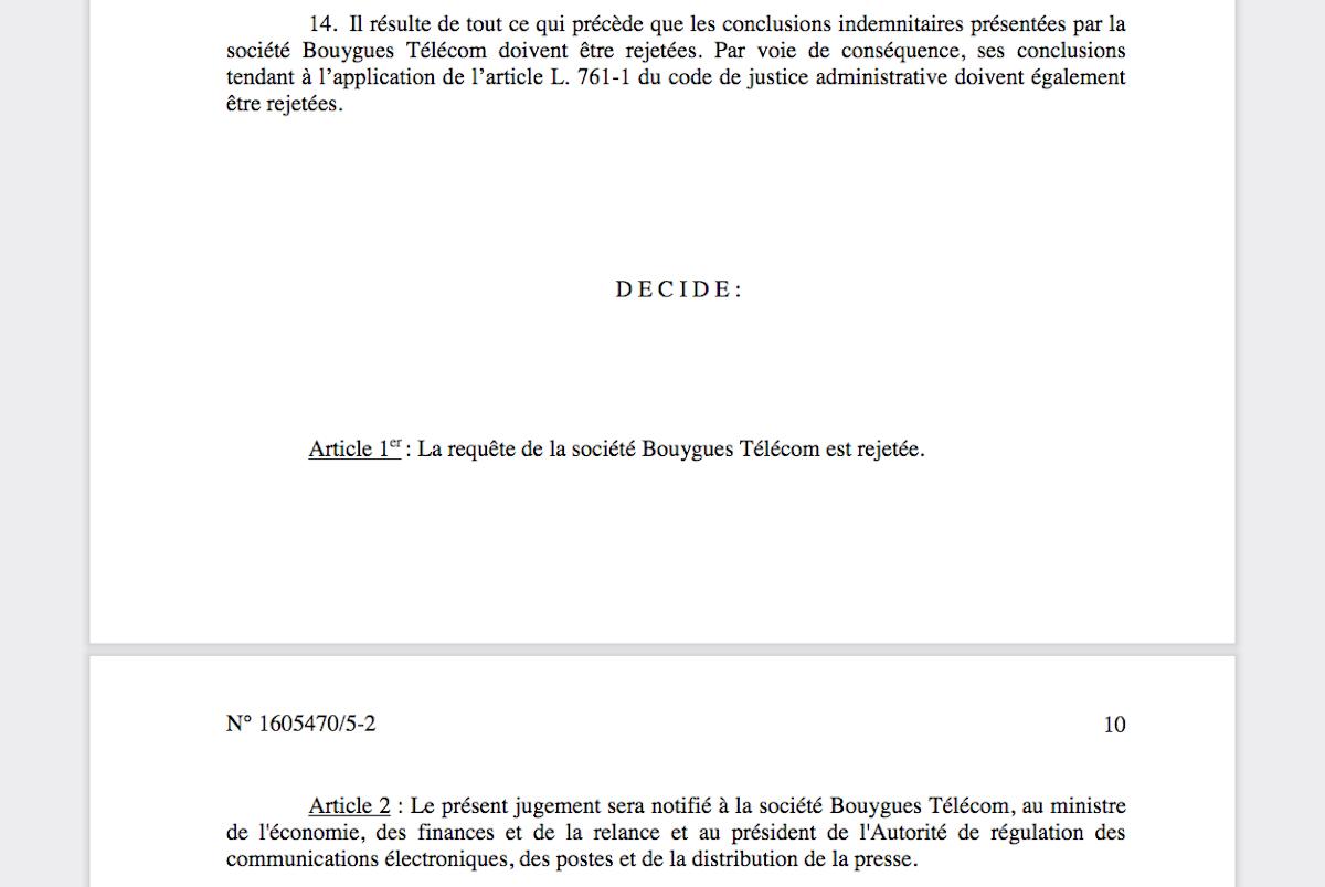 Procès Bouygues Telecom décision tribunal administratif de Paris