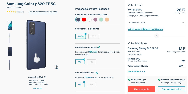 Samsung Galaxy S20 FE chez Bouygues Telecom