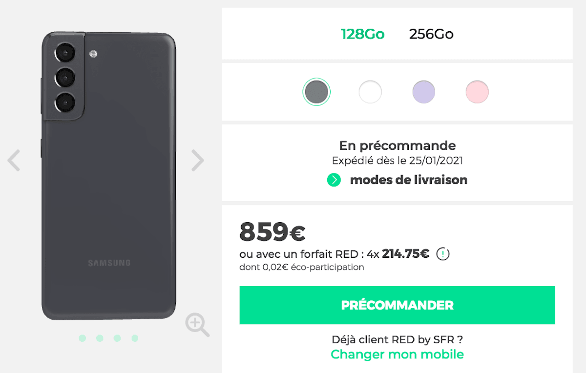 Samsung Galaxy S21 5G RED by SFR précommande