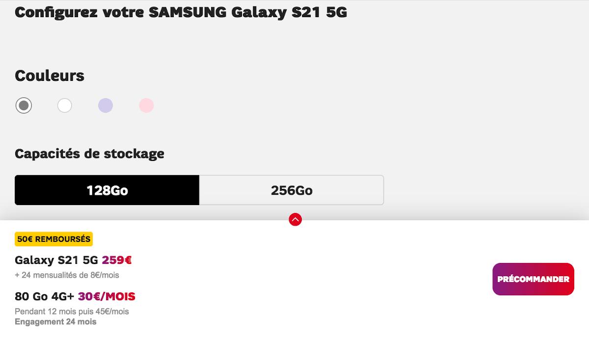 Samsung Galaxy S21 5G SFR forfait 80 Go