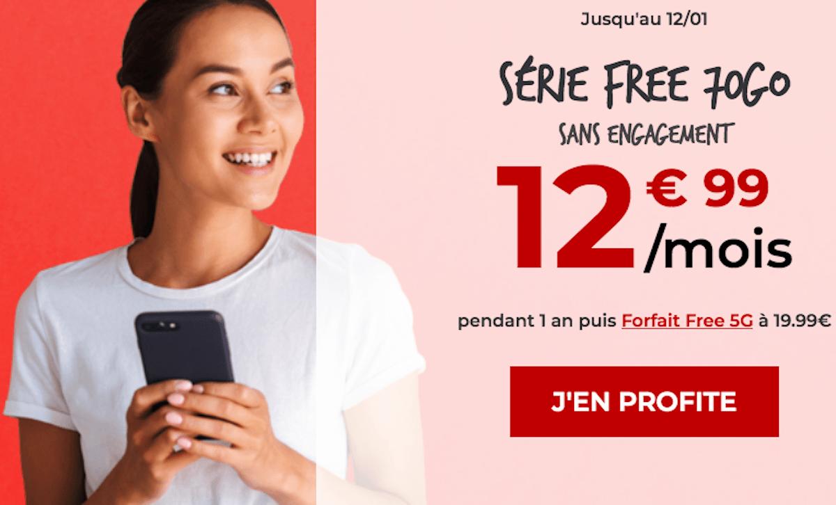 Série Free Mobile forfait 4G+ 70 Go
